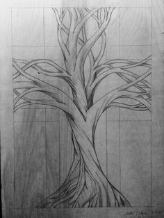 My sketch of the carved tree cross. Inspired by the sad fires burning in and around Chelan WA. Wood Carving Designs, Wood Carving Patterns, Molduras Vintage, Landscape Pencil Drawings, Simple Wood Carving, Whittling Wood, Intarsia Wood, Twisted Tree, Art Nouveau Poster