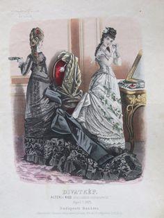 Evening dresses or ballgowns, 1875 Austria-Hungary (modern-day Budapest, Hungary), Budapesti Bazárra