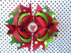 Sweet Summer Watermelon Polka Dot Boutique Hairbow by angelabrice, $7.99...OMG, I love this!