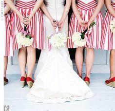 Patterned Bridesmaid Dresses ~ Wedding High Like the idea of patterns! July Wedding, Seaside Wedding, Red Wedding, Wedding Colors, Nautical Wedding, Wedding Things, Wedding Bells, Wedding Gowns, Carnival Wedding