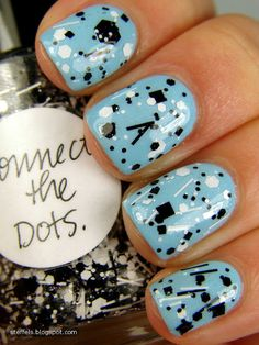 LIght Blue Nail Polish with Black Glitter