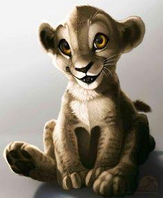 Lion King's Simba cartoon illustration via www.Facebook.com/DisneylandForMisfits