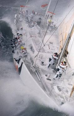 Rough water sailing - not only exhilarating, but teaches many lessons: about self, teamwork, navigation, power and response.... . BT Global Challenge 1996 - VMA.