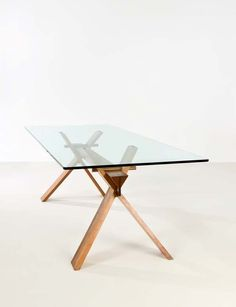 Table by Achille Castiglioni circa 1970 - Wood and glass