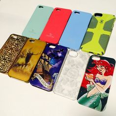 iPhone 5 5s cases Disney little mermaid Peter Pan Lot of iPhone 5/5s cases. PRICE FOR ALL 9 cases.   •Juicy couture gold case- gold has worn off  •Hollister floral clear-great condition •Disney Ariel little mermaid-great condition 1 dent on bottom •Peter pan-some dents, rubbing &fine scratches all over only seen up close •3caseology shimmer-pink, mint &blue-some paint off blue on corner &pink on charger area otherwise great •spec green/blue case-fine scratches on back &some rubbing on blue…