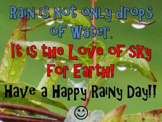 Rain is the love of Sky for Earth! We wouldn't be able to live without that love... #Rain #Earth