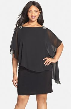 Alternate Image 1 - Xscape Embellished Chiffon Overlay Jersey Dress (Plus Size) Plus Size Cocktail Dresses, Dress Plus Size, Plus Size Outfits, Mob Dresses, Sexy Dresses, Short Dresses, Plus Size Formal, Looks Plus Size, Plus Size Kleidung