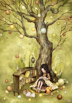 By South Korean artist Aeppol Cartoon Kunst, Cartoon Art, Fantasy Kunst, Fantasy Art, Illustration Noel, Creation Photo, Reading Art, Happy Reading, Forest Girl