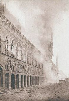 Ypres Cloth Hall ablaze, November 1914. Photo: Antony dYpres