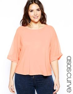 ASOS CURVE Luxe Crepe Top With Dropped Raglan