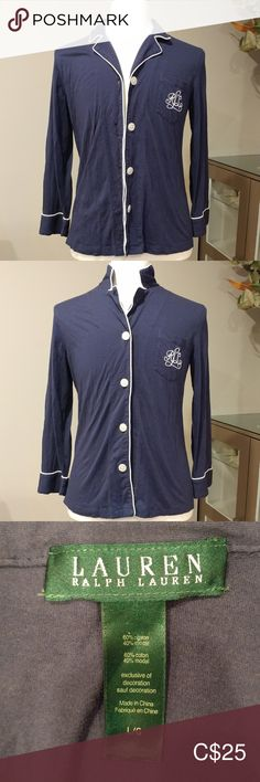 Shop Women's Lauren Ralph Lauren Blue size L Pajamas at a discounted price at Poshmark. Size L. cotton and modal. Made in China. Pajama Top, Plus Fashion, Fashion Tips, Fashion Trends, Pajamas, Ralph Lauren, Navy, Cotton, Jackets