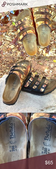 Betula by Birkenstock. Sz 40 regular width. Take a look at these gorgeous Betula by Birkenstock sandals! Hard to find fall colors. Too wide for my feet, so my loss is your gain. Great condition (no toe prints).  They run large. Birkenstock Shoes