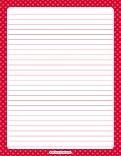 Printable red polka dot stationery and writing paper. Multiple versions available with or without lines. Free PDF downloads at http://stationerytree.com/download/red-polka-dot-stationery/
