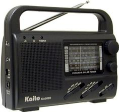 Kaito KA009R 4-Way Powered Emergency Crank Radio with Shortwave Antenna T1. by Kaito. $39.99. Stay prepared and informed with the KA009R made by KAITO. If the power goes out and batteries aren't available, the KA009R can function for up to an hour with only two minutes of hand cranking or an hour's exposure under direct sunlight Its built-in generator means that even in the most desperate situations, you'll still have access to local news and information--as well as to ...