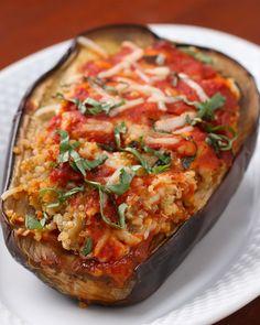 Aubergine, quinoa, tomato sauce, mozzarella, parmesan bake. Tasty Vegetarian