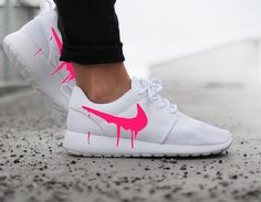Nike Roshe Run One White with Custom Pink Candy Drip Swoosh Paint
