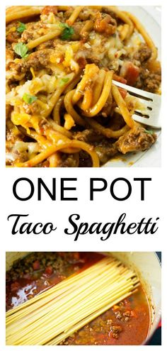 Taco spaghetti is a super easy and quick weeknight dinner you can make in just ONE POT! How perfect is that. #butterandbaggage.com #onepotdinner #spaghetti #easydinner