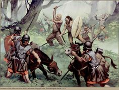Germans of the Cherusci tribe attack a Roman baggage train in the Teutoburg Forrest 9 AD. Illustration by Angus McBride