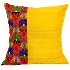 Kutch Embroidery Silk Pillow Cover in Orange and Yellow gelb und orange kutch Stickerei Seide Kissenbezug Sewing Pillows, Diy Pillows, Decorative Pillows, Throw Pillows, Bedroom Cushions, Cushion Cover Designs, Cushion Covers, Pillow Covers, Stoff Design