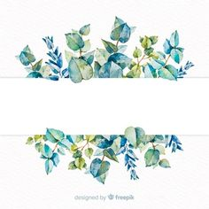 Watercolor eucalyptus banner with blank banner Free Vector Wreath Watercolor, Watercolor Leaves, Watercolor Cards, Flower Watercolor, Flower Background Wallpaper, Flower Backgrounds, Wallpaper Backgrounds, Phone Wallpapers, Adobe Illustrator