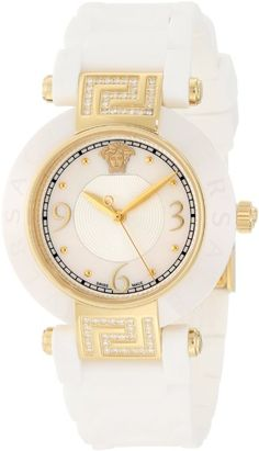 Versace Women's 92QCP11D497 S001 Reve IP Yellow-Gold White Ceramic Rubber Watch a favourite repin of www.VIPFashionAustralia.com