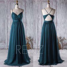 2017 Dark Turquoise Bridesmaid Dress, Open Back Wedding Dress, Spaghetti Straps Prom Dress, Long Chiffon Evening Gown Floor Length (J026) by RenzRags on Etsy https://www.etsy.com/listing/465566437/2017-dark-turquoise-bridesmaid-dress