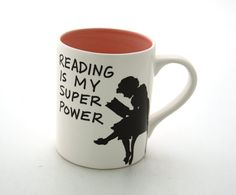 Reading Tea Mug Reading is my Superpower Great gift for Book Lover PINK. $16.00, via Etsy.