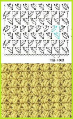 This crochet stitch create a woven effect. To achieve a lighter fabric for the Basket Weave Sweater, I have modified it with 4 lps on hook, not the classic 6 loops. Y Mais Sophie e Me: Lavorare Bean-Stitch. Crochet Stitches Chart, Crotchet Patterns, Crochet Diagram, Filet Crochet, Crochet Motif, Knitting Stitches, Stitch Patterns, Knitting Patterns, Knit Crochet
