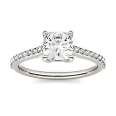 Charles & Colvard 14k White Gold 1 1/3ct DEW Forever One Near-Colorless Solitaire with Side Accents Engagement Ring - Free Shipping Today - Overstock.com - 24131034