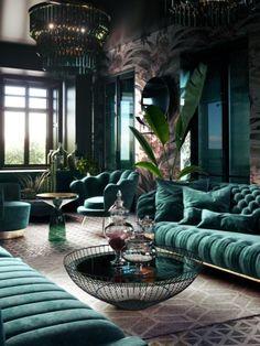 Home Room Design, Dream Home Design, Home Interior Design, Living Room Designs, Gothic Interior, Luxury Interior, Interior Design Inspiration, Style Inspiration, Dark Living Rooms