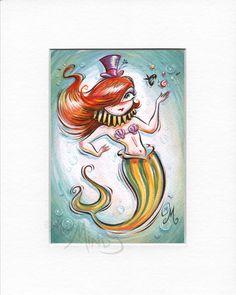 "Circus Mermaid (5.5""x8"" print) by artist Miss Mindy by MissMindyArtist on Etsy https://www.etsy.com/listing/213496761/circus-mermaid-55x8-print-by-artist-miss"