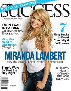 Miranda is featured on the June cover of SUCCESS Magazine —on newsstands May Learn how she applies her mom's words of wisdom to various passions in her life—including The Pink Pistol & The Pink Pistol Texas. Black Shelton, Nashville Star, Success Magazine, Personal And Professional Development, Country Music Artists, Miranda Lambert, She Song, Girl Crushes, Healthy Habits