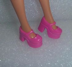 Light Pink Chunky Platform Mary Janes Also Fit Blythe /& Skippers Barbie Shoes