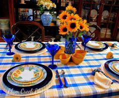 Sunflower tablescape, Corelle Sunsation, Corelle sunflower plates, Park design sunny day