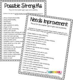 Love this list of possible strengths and areas for improvement for conferences! Behavior, parent conference, positive and negative