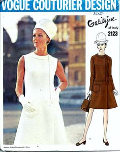 Vintage 1960s Vogue Galitzine Of Italy Dress Sewing Pattern.  Pattern 2123 has been cut and is complete.  Size 12 which will fit a 34 bust and a 36 hip.