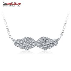LZESHINE Top Quality Necklaces Silver Plated CZ Diomand Necklaces & Pendants Angel Wings Jewelry for Women