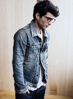 i like it, but i have never quite understood how to pull off two different washes of denim.  if you take away the nice hair, ear ring, and glasses, if you wear two types of denim, don't you just look clueless?