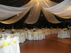 Yellow and white Wedding Set Up, Wedding Bride, Wedding Venues, Yard Wedding, Wedding Ideas, Ceiling Draping, Ceiling Decor, Party Decoration, Wedding Decorations