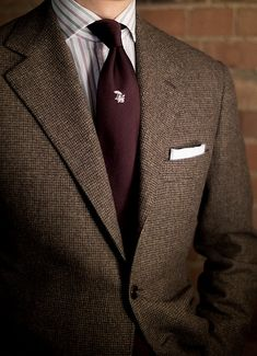 Donegal tweed jacket, white shirt with red and black stripes, burgundy tie Sharp Dressed Man, Well Dressed Men, Mode Masculine, Outfit Hombre Formal, Suit Fashion, Mens Fashion, Style Fashion, Burgundy Tie, Moda Formal