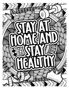 Funny and cute words stay home and stay healthy with mandala background - coloring page for adult. Download it at freepik.com! #Freepik #vector #floral #sport #mandala #home Family Coloring Pages, Unicorn Coloring Pages, Coloring Book Pages, Coloring For Kids, Little Girl Drawing, Space Doodles, Animal Outline, Dog Background, Unicorn Illustration