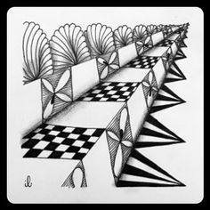 Zentangle Zoo: Zenuari day 11: Straight