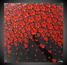 Abstract Acrylic Painting on Canvas art Paintings Cherry Tree