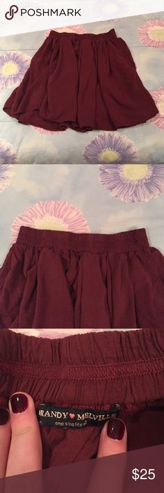 NWOT Brandy Melville Maroon Skirt Never worn but no tags, elastic band around the waist- one size fits all! Brandy Melville Skirts Mini
