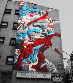 Street Art : Mural by Tristan Eaton in New York (Little Italy) in the USA. Graffiti Art, Best Graffiti, Graffiti Painting, Mural Painting, Street Art Graffiti, Mural Art, Urbane Kunst, Best Street Art, Street Artists