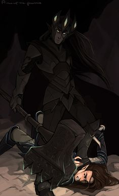 The Death of Fingolfin, by prince-of-the-palmtrees. Silmarillion fan art. (Ok, I hate the way my poor Fin dies, but this is SO GOOD)