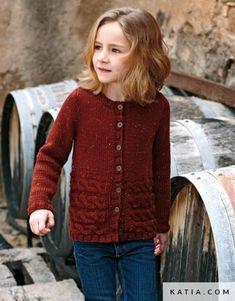pattern knit crochet kids jacket autumn winter katia 6905 3 g Knitting For Kids, Crochet For Kids, Knitting Yarn, Baby Knitting, Knit Crochet, Winter Kids, Summer Kids, Fall Winter, Spring Summer