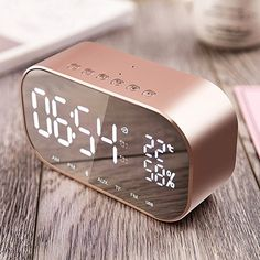 Digital Alarm Clock with Bluetooth Speaker, Fozela Digital Alarm Clock, Dual 3W Driver Stereo Speaker Enhanced Bass with Large LED Display, Support FM Radio, Built-in Mic,Hands-free Call & TF & AUX & USB (Rose gold)