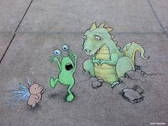 Chalk Street Art Adorable Creations By David Zinn Garden - David zinns 3d chalk art adorably creative