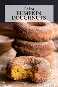 Baked Pumpkin Donuts Recipe - Fall Doughnut Recipe A no-fuss baked pumpkin donuts recipe that is perfect for fall. Baking instead of frying makes them healthier - less than 350 calories per donut! Pumpkin Donut Recipe Baked, Baked Donut Recipes, Baked Doughnuts, Baked Pumpkin, Baking Recipes, Healthy Baked Donuts, Potato Donuts Recipe, Easy Pumpkin Recipes, Yeast Donuts